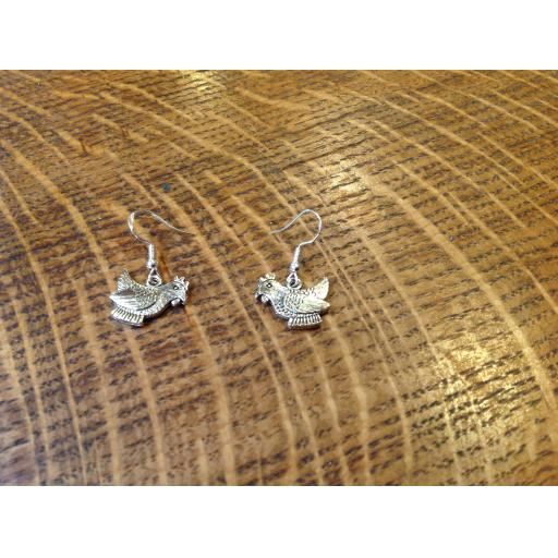 Exquisite silver chicken earrings